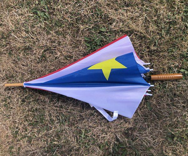 ACA Parapluie acadien bleu-blanc-rouge avec étoile jaune
