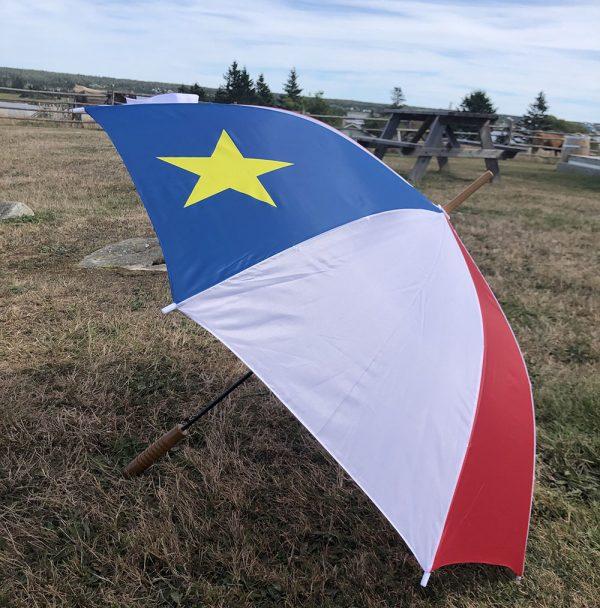 ACA Parapluie acadien bleu blanc et rouge avec étoile jaune