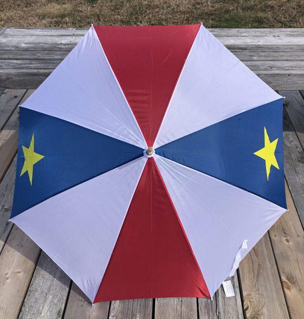ACA Parapluie acadien bleu blanc rouge avec étoile jaune - acadian umbrella