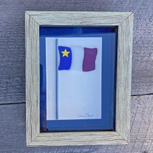 ACA Glass Art drapeau acadien (bordure bleu)